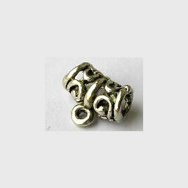 Bead, antiqued silver-finished, 11x7mm tube with loop. Pkg of 20