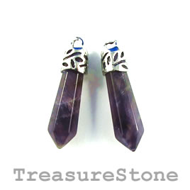 Pendant, Amethyst, 8x30mm. Pkg of 2.