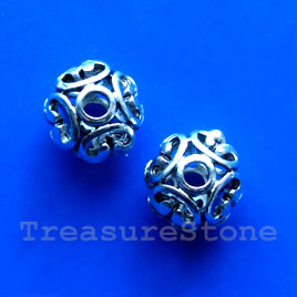 Bead, antiqued silver-finished, 12x10mm filigree. Pkg of 3.