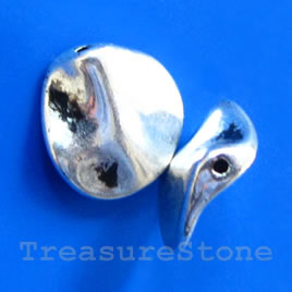 Bead, antiqued silver-finished, 12x13mm. Pkg of 10