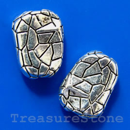 Bead, antiqued silver-finished, 12x15x6mm. Pkg of 5.