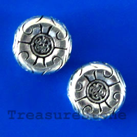 Bead, antiqued silver-finished, 12mm. Pkg of 10