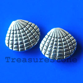 Bead, antiqued silver-finished, 12x13 shell. Pkg of 10.