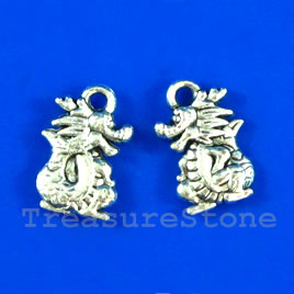 Pendant/charm, silver-finished,10x14mm dragon. Pkg of 12.