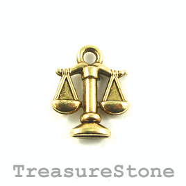 Charm/Pendant, gold-plated, 12mm Libra. Pack of 12.