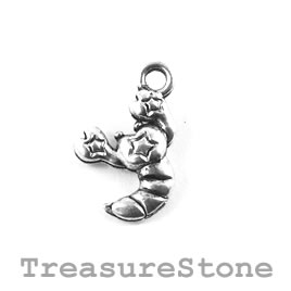 Charm/Pendant, silver-plated, 11mm Scorpion. Pack of 12.