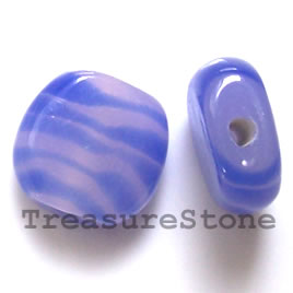 Bead, lampworked glass, 14x15x6mm. Pkg of 6.