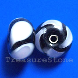 Bead, lampworked glass, black + white, 13x8mm rondelle. Pkg of 6