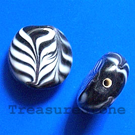 Bead, lampworked glass, black+ white,17x6mm flat round. Pkg of 6