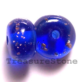 Bead, lampworked glass, blue, 14x8mm rondelle. Pkg of 6.