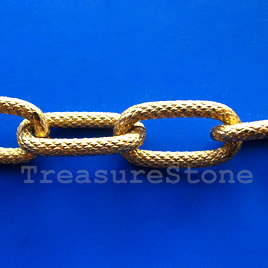 Chain, aluminum, gold,15x27mm flat oval - By meter