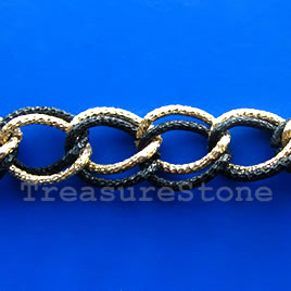 Chain, aluminum, gold-black,15x19mm double curb - By meter