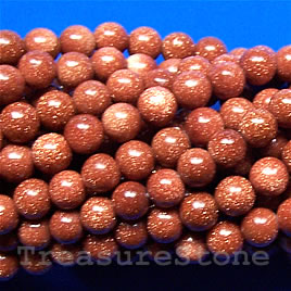 Bead, brown goldstone, 6mm round. 16-inch strand.