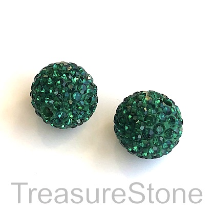 Clay Pave Bead, 8mm emerald with crystals. Each