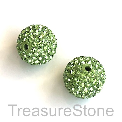 Clay Pave Bead, 14mm green with crystals. Each