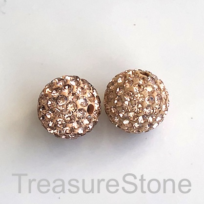 Clay Pave Bead, 12mm peach with crystals. Each